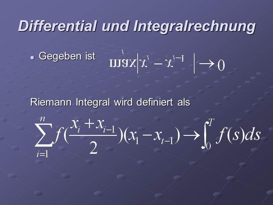 Differential und Integralrechnung Gegeben ist Gegeben ist Riemann Integral wird definiert als