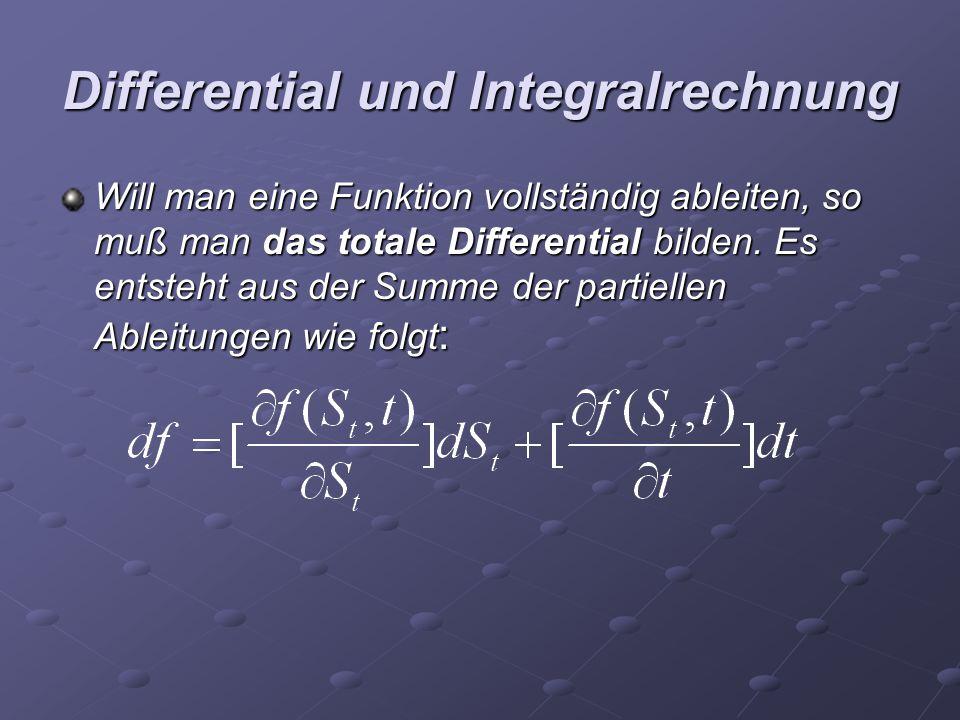 Differential und Integralrechnung Will man eine Funktion vollständig ableiten, so muß man das totale Differential bilden. Es entsteht aus der Summe de