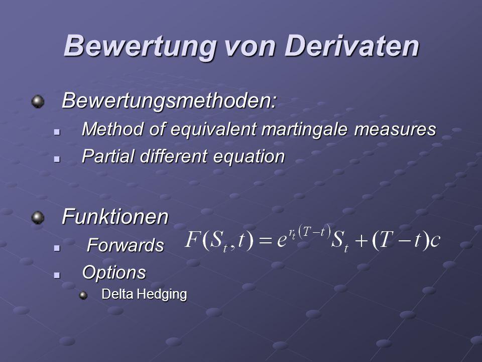 Bewertung von Derivaten Bewertungsmethoden: Method of equivalent martingale measures Method of equivalent martingale measures Partial different equati