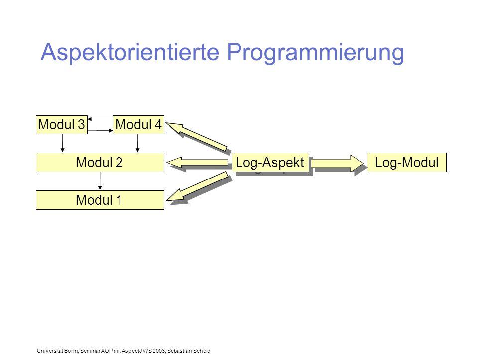 Universität Bonn, Seminar AOP mit AspectJ WS 2003, Sebastian Scheid Aspektorientierte Programmierung Modul 3Modul 4 Modul 2 Modul 1 Log-Modul Log-Aspekt
