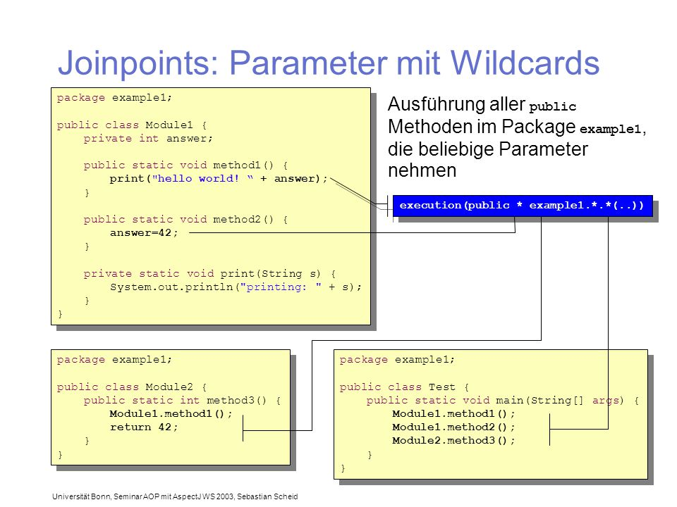 Universität Bonn, Seminar AOP mit AspectJ WS 2003, Sebastian Scheid Joinpoints: Parameter mit Wildcards package example1; public class Module1 { private int answer; public static void method1() { print( hello world.