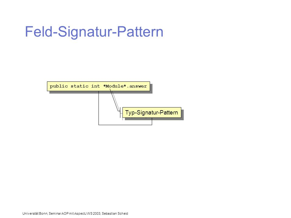 Universität Bonn, Seminar AOP mit AspectJ WS 2003, Sebastian Scheid Feld-Signatur-Pattern public static int *Module*.answer Typ-Signatur-Pattern