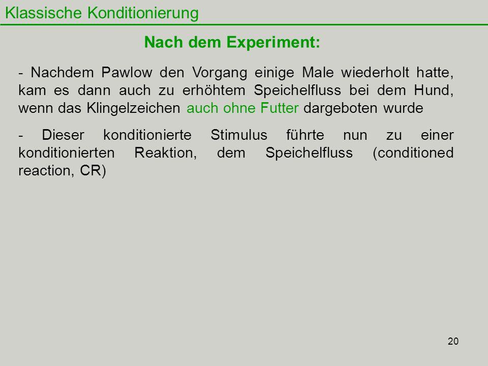 20 Klassische Konditionierung Nach dem Experiment: - Nachdem Pawlow den Vorgang einige Male wiederholt hatte, kam es dann auch zu erhöhtem Speichelflu