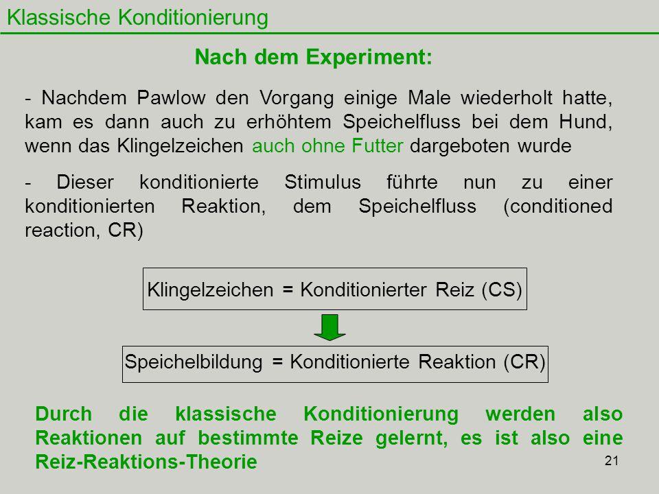 21 Klassische Konditionierung Nach dem Experiment: Klingelzeichen = Konditionierter Reiz (CS) Speichelbildung = Konditionierte Reaktion (CR) - Nachdem