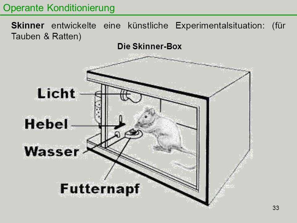 33 Operante Konditionierung Skinner entwickelte eine künstliche Experimentalsituation: (für Tauben & Ratten) Die Skinner-Box