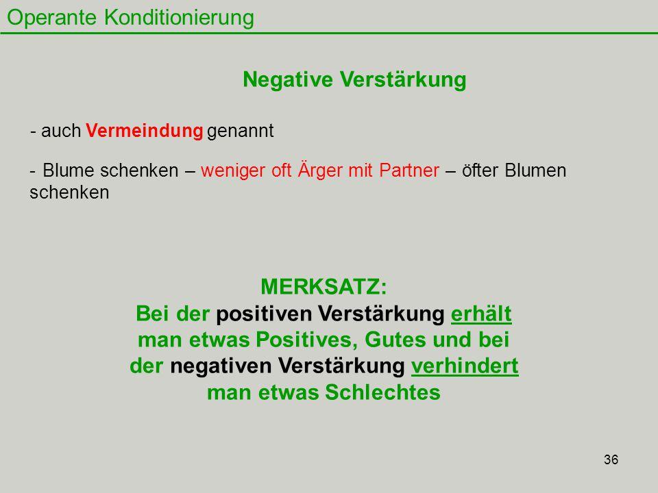 36 Operante Konditionierung Negative Verstärkung - auch Vermeindung genannt MERKSATZ: Bei der positiven Verstärkung erhält man etwas Positives, Gutes