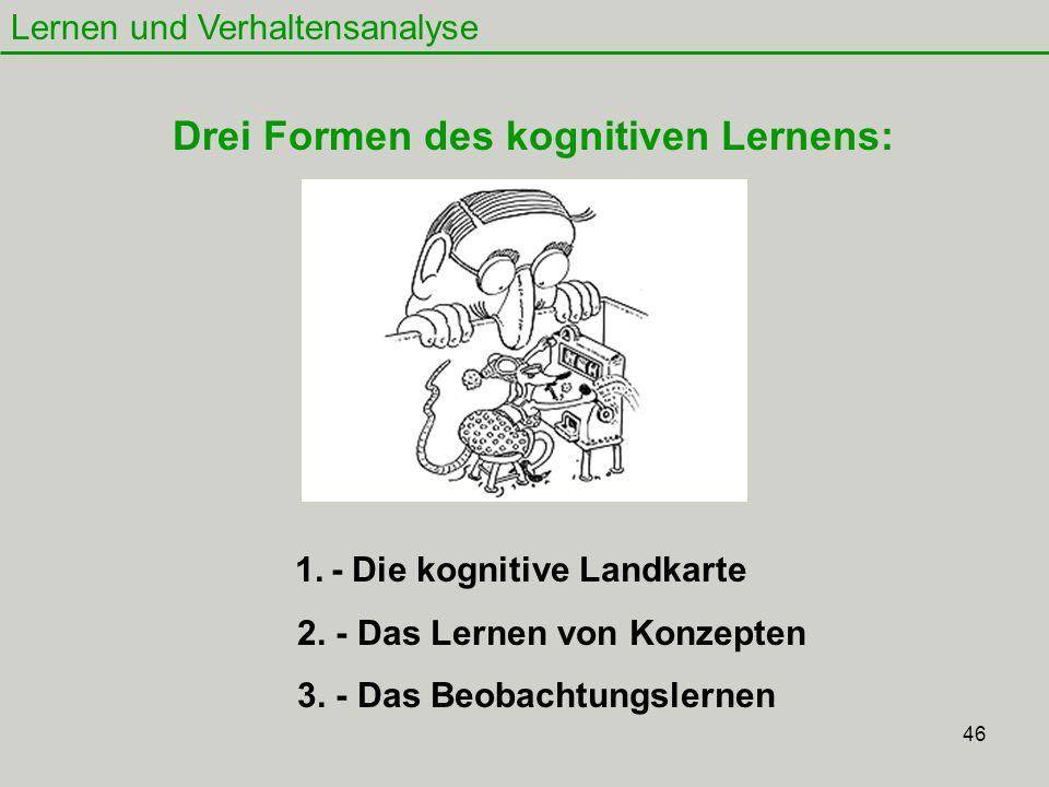 46 Lernen und Verhaltensanalyse 1. - Die kognitive Landkarte 2. - Das Lernen von Konzepten 3. - Das Beobachtungslernen Drei Formen des kognitiven Lern