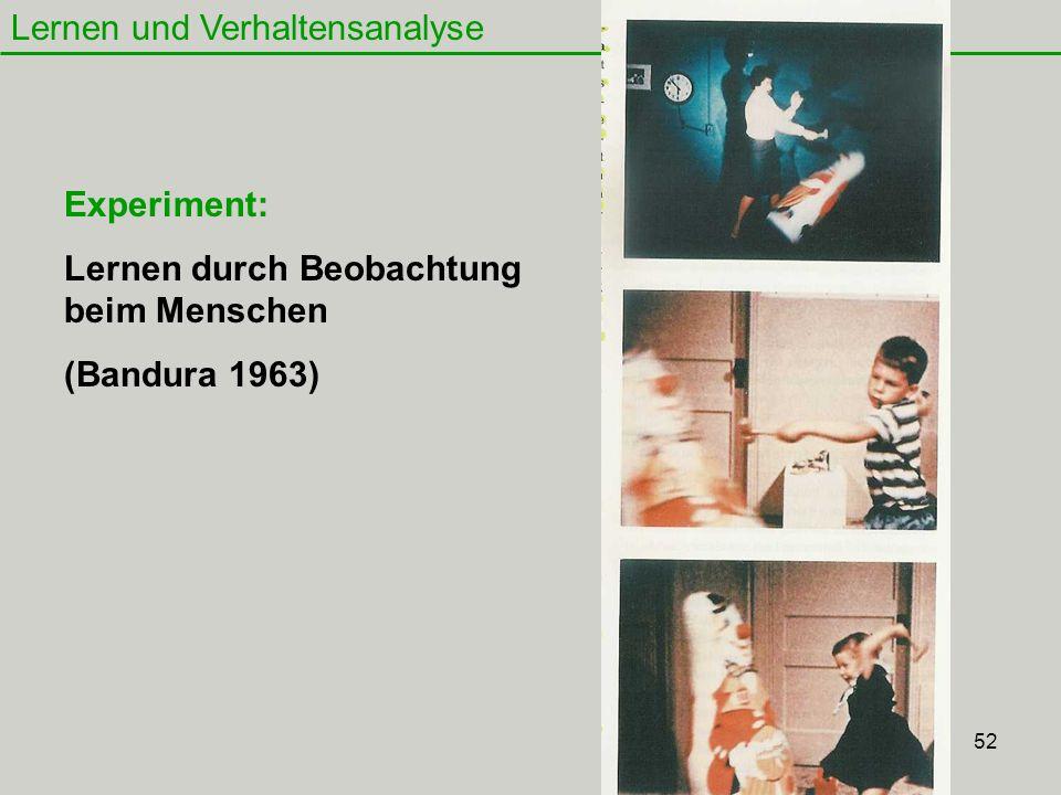 52 Lernen und Verhaltensanalyse Experiment: Lernen durch Beobachtung beim Menschen (Bandura 1963)