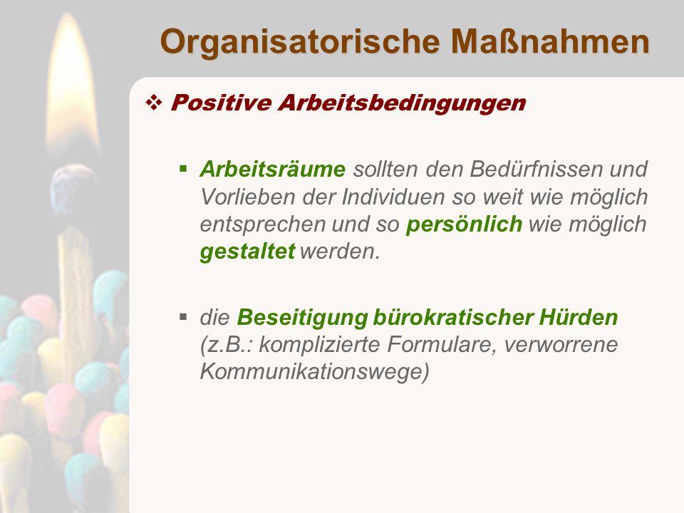 Organisatorische Maßnahmen  Positive Arbeitsbedingungen  Arbeitsräume sollten den Bedürfnissen und Vorlieben der Individuen so weit wie möglich entsprechen und so persönlich wie möglich gestaltet werden.