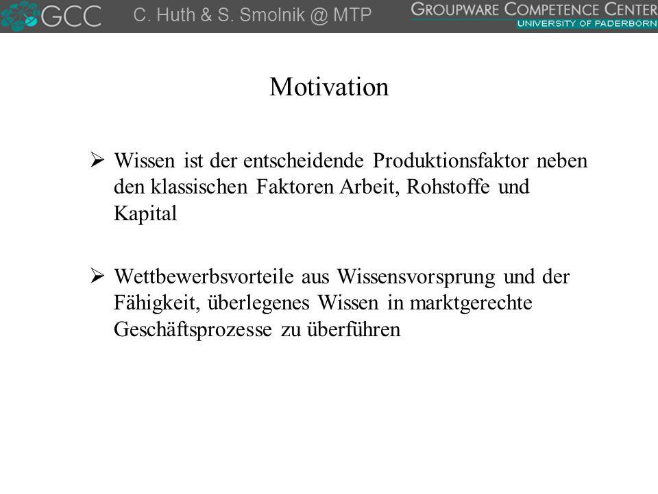 Motivation  Wissen ist der entscheidende Produktionsfaktor neben den klassischen Faktoren Arbeit, Rohstoffe und Kapital  Wettbewerbsvorteile aus Wis