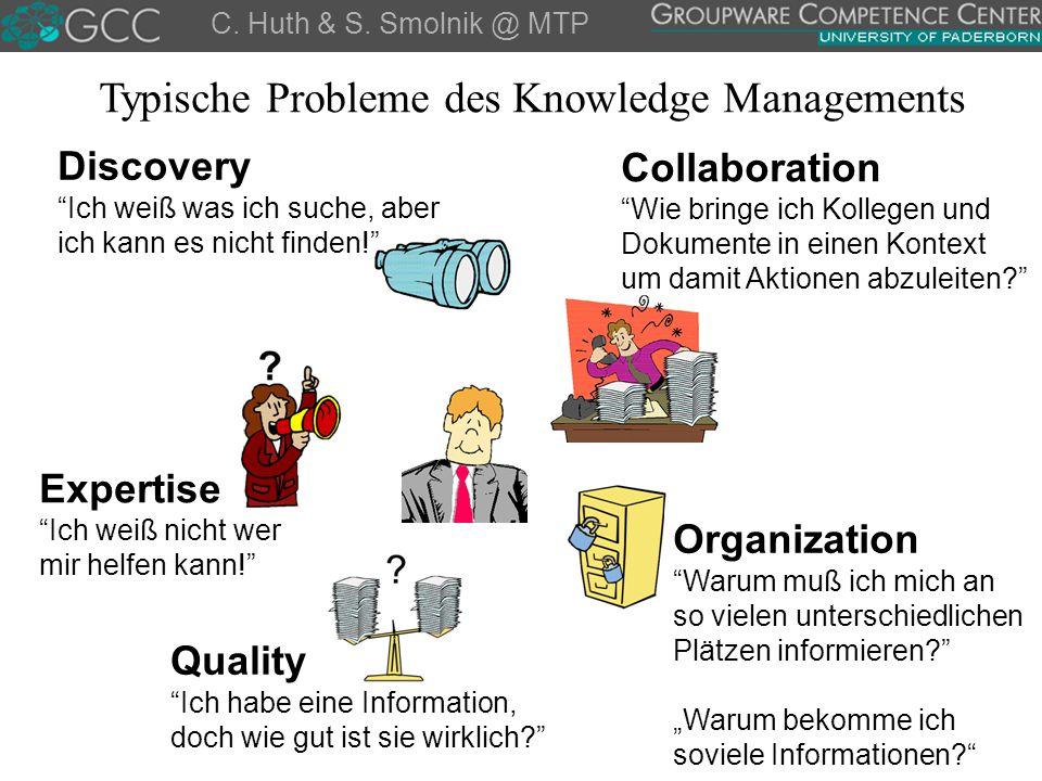 """C. Huth & S. Smolnik @ MTP Discovery """"Ich weiß was ich suche, aber ich kann es nicht finden!"""" Organization """"Warum muß ich mich an so vielen unterschie"""