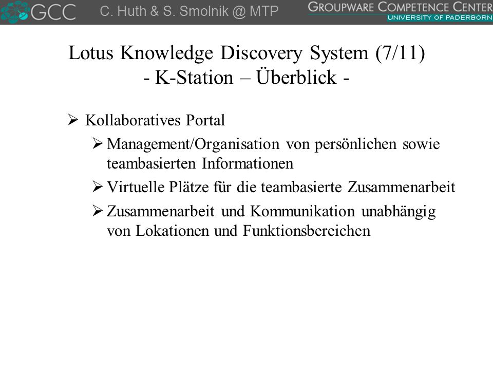 Lotus Knowledge Discovery System (7/11) - K-Station – Überblick - C.