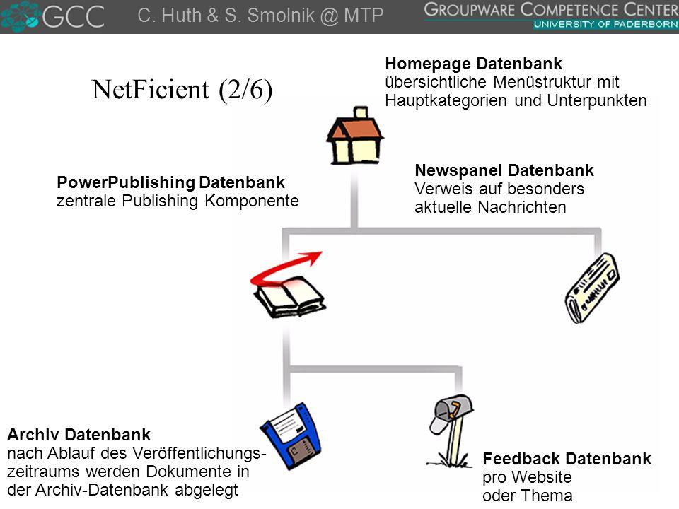 Homepage Datenbank übersichtliche Menüstruktur mit Hauptkategorien und Unterpunkten PowerPublishing Datenbank zentrale Publishing Komponente Newspanel