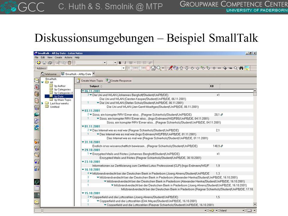 Diskussionsumgebungen – Beispiel SmallTalk C. Huth & S. Smolnik @ MTP