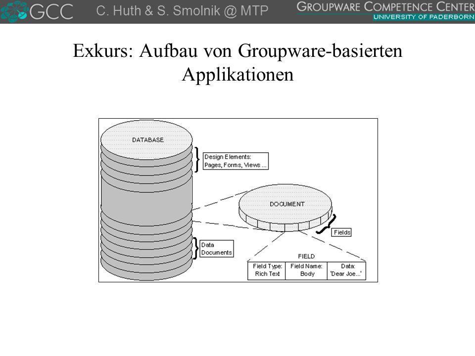 Exkurs: Aufbau von Groupware-basierten Applikationen C. Huth & S. Smolnik @ MTP