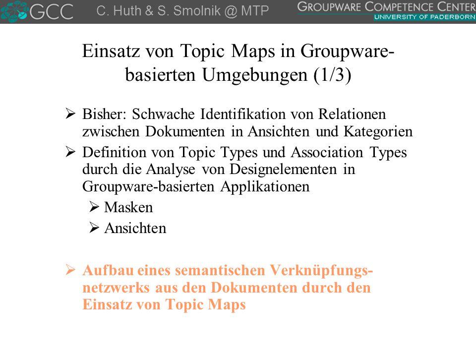 Einsatz von Topic Maps in Groupware- basierten Umgebungen (1/3)  Bisher: Schwache Identifikation von Relationen zwischen Dokumenten in Ansichten und