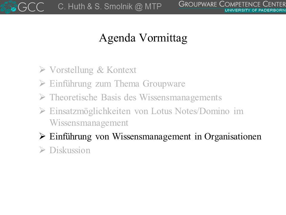 Agenda Vormittag  Vorstellung & Kontext  Einführung zum Thema Groupware  Theoretische Basis des Wissensmanagements  Einsatzmöglichkeiten von Lotus