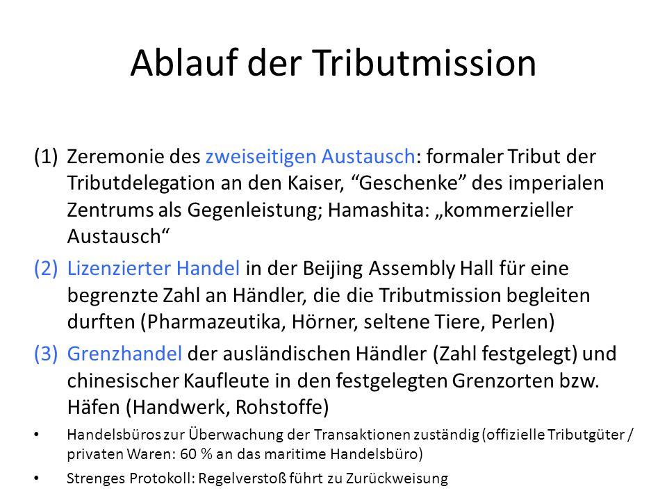 """Ablauf der Tributmission (1)Zeremonie des zweiseitigen Austausch: formaler Tribut der Tributdelegation an den Kaiser, """"Geschenke"""" des imperialen Zentr"""