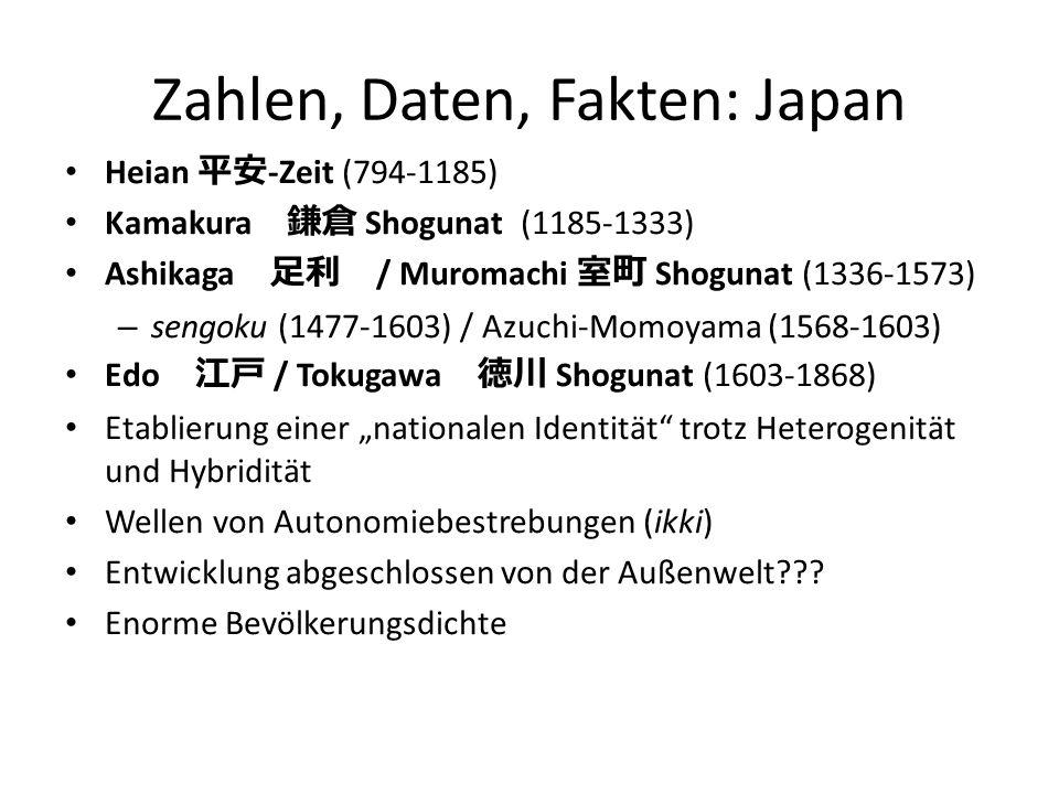 Zahlen, Daten, Fakten: Japan Heian 平安 -Zeit (794-1185) Kamakura 鎌倉 Shogunat (1185-1333) Ashikaga 足利 / Muromachi 室町 Shogunat (1336-1573) – sengoku (147