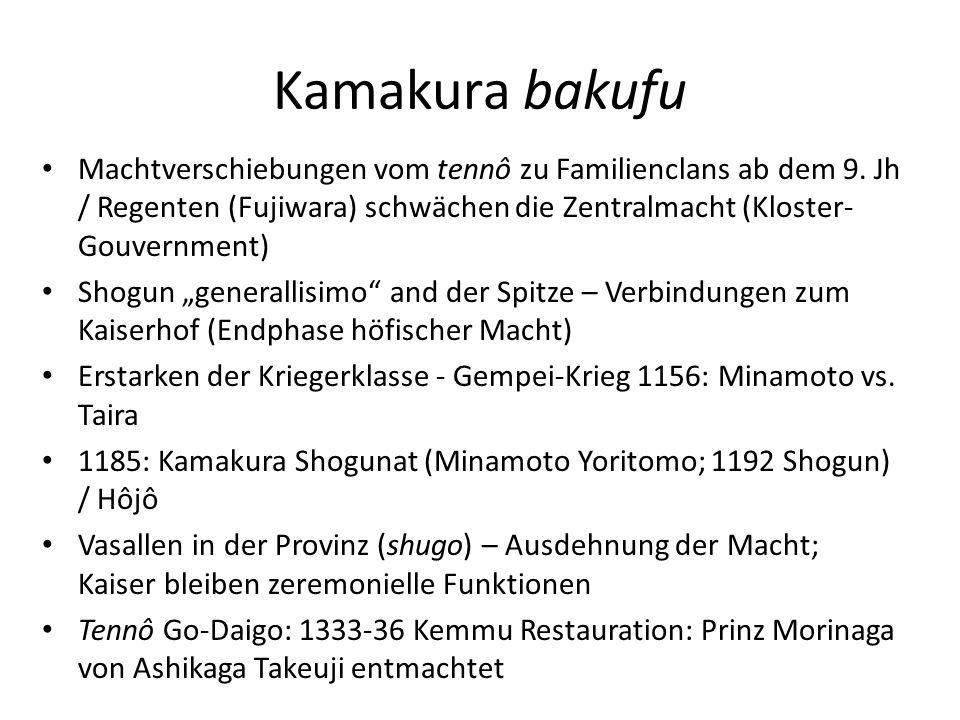 Kamakura bakufu Machtverschiebungen vom tennô zu Familienclans ab dem 9. Jh / Regenten (Fujiwara) schwächen die Zentralmacht (Kloster- Gouvernment) Sh