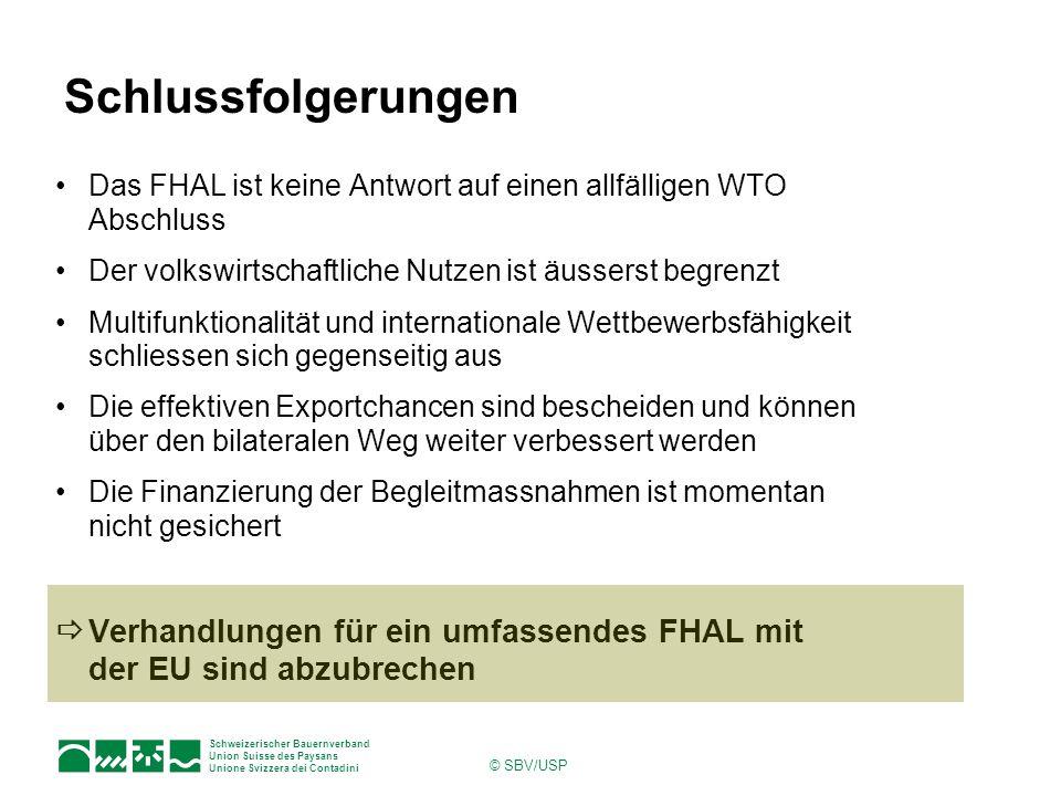 Schweizerischer Bauernverband Union Suisse des Paysans Unione Svizzera dei Contadini © SBV/USP Schlussfolgerungen Das FHAL ist keine Antwort auf einen allfälligen WTO Abschluss Der volkswirtschaftliche Nutzen ist äusserst begrenzt Multifunktionalität und internationale Wettbewerbsfähigkeit schliessen sich gegenseitig aus Die effektiven Exportchancen sind bescheiden und können über den bilateralen Weg weiter verbessert werden Die Finanzierung der Begleitmassnahmen ist momentan nicht gesichert  Verhandlungen für ein umfassendes FHAL mit der EU sind abzubrechen