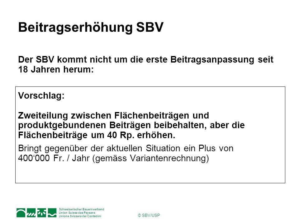 Schweizerischer Bauernverband Union Suisse des Paysans Unione Svizzera dei Contadini © SBV/USP Beitragserhöhung SBV Der SBV kommt nicht um die erste Beitragsanpassung seit 18 Jahren herum: Vorschlag: Zweiteilung zwischen Flächenbeiträgen und produktgebundenen Beiträgen beibehalten, aber die Flächenbeiträge um 40 Rp.