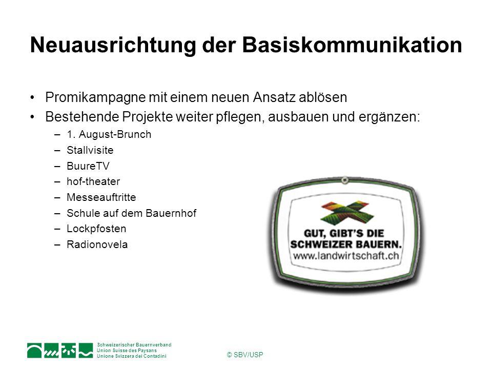Schweizerischer Bauernverband Union Suisse des Paysans Unione Svizzera dei Contadini © SBV/USP Neuausrichtung der Basiskommunikation Promikampagne mit einem neuen Ansatz ablösen Bestehende Projekte weiter pflegen, ausbauen und ergänzen: –1.