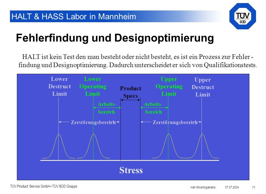 TÜV Product Service GmbH TÜV SÜD Gruppe HALT & HASS Labor in Mannheim 07.07.2004Hari Mountogianakis 11 Fehlerfindung und Designoptimierung Product Spe