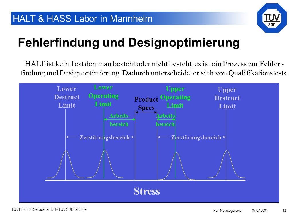 TÜV Product Service GmbH TÜV SÜD Gruppe HALT & HASS Labor in Mannheim 07.07.2004Hari Mountogianakis 12 Fehlerfindung und Designoptimierung Product Spe
