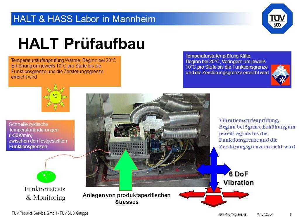 TÜV Product Service GmbH TÜV SÜD Gruppe HALT & HASS Labor in Mannheim 07.07.2004Hari Mountogianakis 8 Temperaturstufenprüfung Kälte, Beginn bei 20°C,