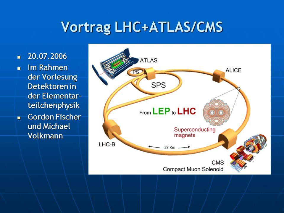 Vortrag LHC+ATLAS/CMS 20.07.2006 20.07.2006 Im Rahmen der Vorlesung Detektoren in der Elementar- teilchenphysik Im Rahmen der Vorlesung Detektoren in der Elementar- teilchenphysik Gordon Fischer und Michael Volkmann Gordon Fischer und Michael Volkmann
