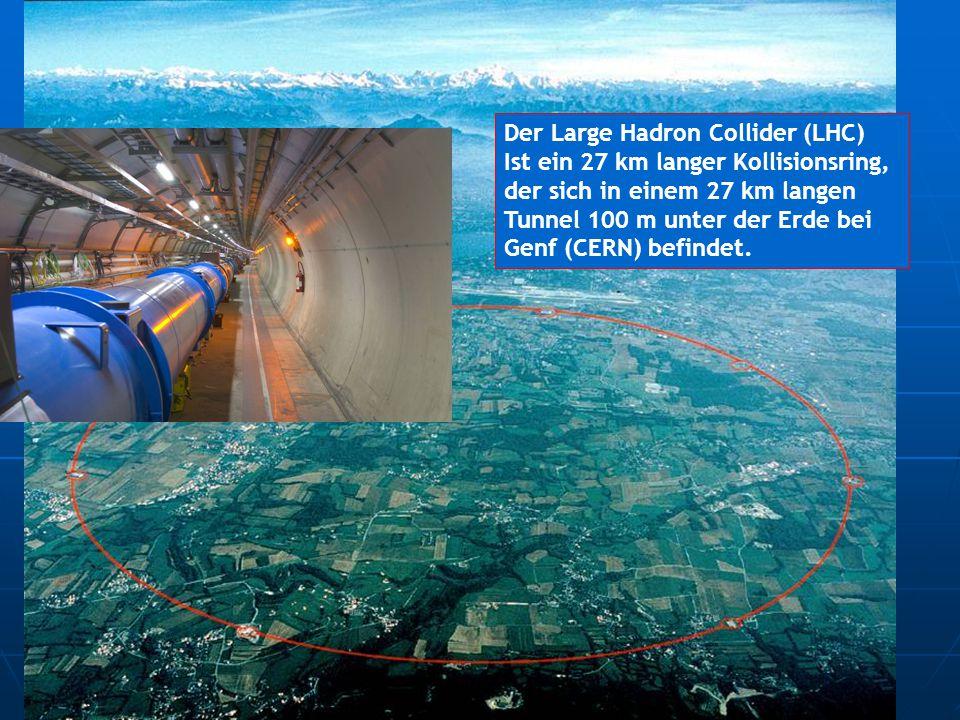 Der Large Hadron Collider (LHC) Ist ein 27 km langer Kollisionsring, der sich in einem 27 km langen Tunnel 100 m unter der Erde bei Genf (CERN) befind