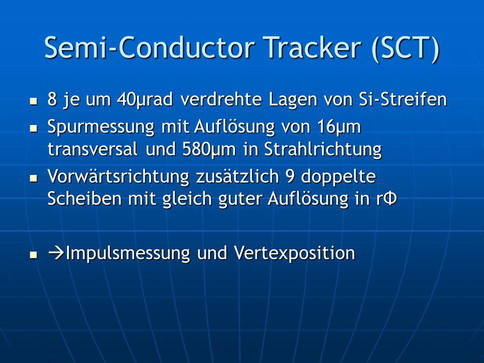 Semi-Conductor Tracker (SCT) 8 je um 40μrad verdrehte Lagen von Si-Streifen 8 je um 40μrad verdrehte Lagen von Si-Streifen Spurmessung mit Auflösung von 16μm transversal und 580μm in Strahlrichtung Spurmessung mit Auflösung von 16μm transversal und 580μm in Strahlrichtung Vorwärtsrichtung zusätzlich 9 doppelte Scheiben mit gleich guter Auflösung in rΦ Vorwärtsrichtung zusätzlich 9 doppelte Scheiben mit gleich guter Auflösung in rΦ  Impulsmessung und Vertexposition  Impulsmessung und Vertexposition