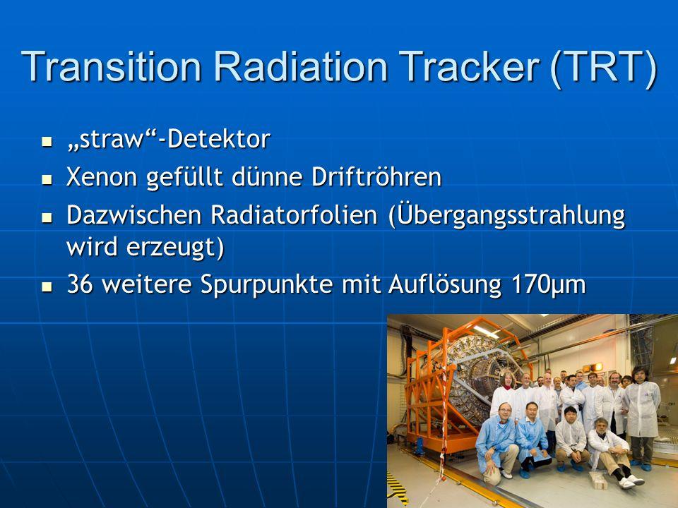 """Transition Radiation Tracker (TRT) """"straw -Detektor """"straw -Detektor Xenon gefüllt dünne Driftröhren Xenon gefüllt dünne Driftröhren Dazwischen Radiatorfolien (Übergangsstrahlung wird erzeugt) Dazwischen Radiatorfolien (Übergangsstrahlung wird erzeugt) 36 weitere Spurpunkte mit Auflösung 170μm 36 weitere Spurpunkte mit Auflösung 170μm"""