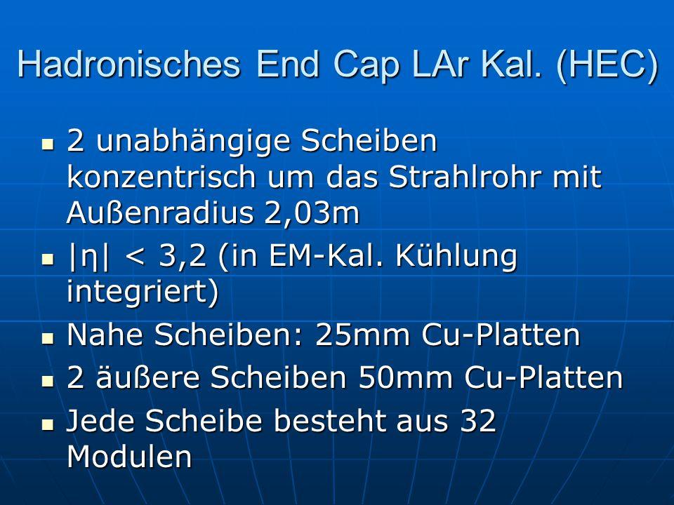 Hadronisches End Cap LAr Kal. (HEC) 2 unabhängige Scheiben konzentrisch um das Strahlrohr mit Außenradius 2,03m |η| < 3,2 (in EM-Kal. Kühlung integrie
