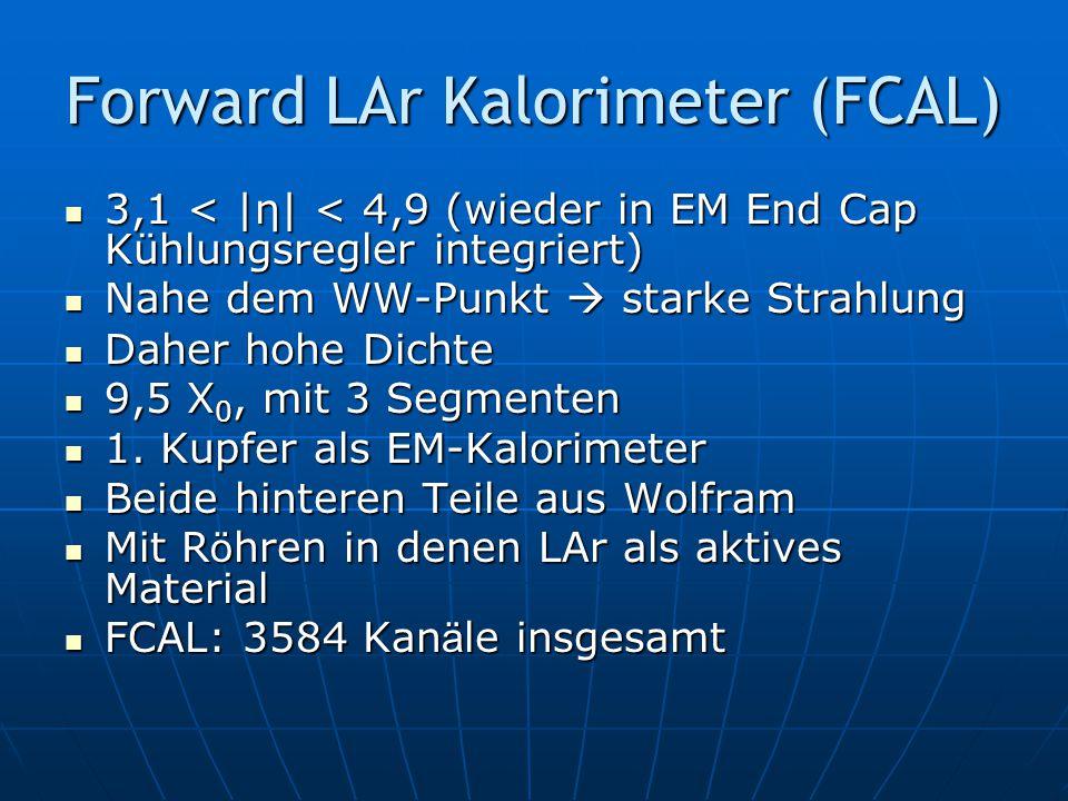 Forward LAr Kalorimeter (FCAL) 3,1 < |η| < 4,9 (wieder in EM End Cap Kühlungsregler integriert) Nahe dem WW-Punkt  starke Strahlung Daher hohe Dichte 9,5 X0, mit 3 Segmenten 1.