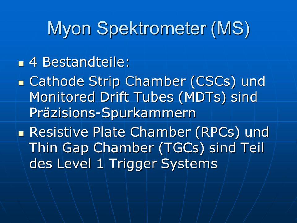 Myon Spektrometer (MS) 4 Bestandteile: 4 Bestandteile: Cathode Strip Chamber (CSCs) und Monitored Drift Tubes (MDTs) sind Präzisions-Spurkammern Cathode Strip Chamber (CSCs) und Monitored Drift Tubes (MDTs) sind Präzisions-Spurkammern Resistive Plate Chamber (RPCs) und Thin Gap Chamber (TGCs) sind Teil des Level 1 Trigger Systems Resistive Plate Chamber (RPCs) und Thin Gap Chamber (TGCs) sind Teil des Level 1 Trigger Systems