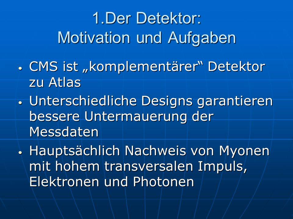 """1.Der Detektor: Motivation und Aufgaben CMS ist """"komplementärer"""" Detektor zu Atlas CMS ist """"komplementärer"""" Detektor zu Atlas Unterschiedliche Designs"""