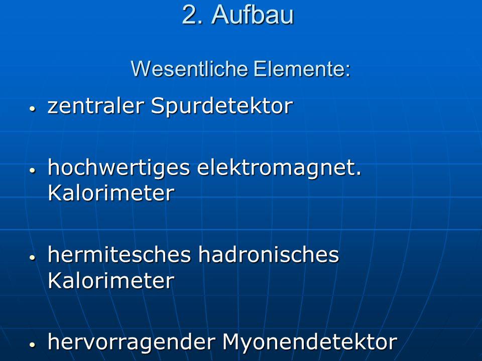 2. Aufbau Wesentliche Elemente: zentraler Spurdetektor zentraler Spurdetektor hochwertiges elektromagnet. Kalorimeter hochwertiges elektromagnet. Kalo