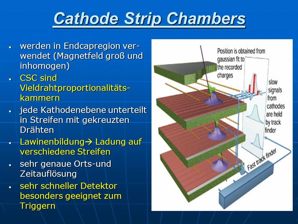 Cathode Strip Chambers werden in Endcapregion ver- wendet (Magnetfeld groß und inhomogen) werden in Endcapregion ver- wendet (Magnetfeld groß und inho
