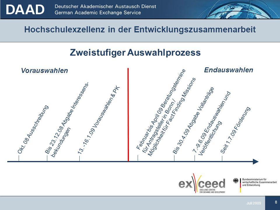 8 Juli 2009 Hochschulexzellenz in der Entwicklungszusammenarbeit Zweistufiger Auswahlprozess Okt.