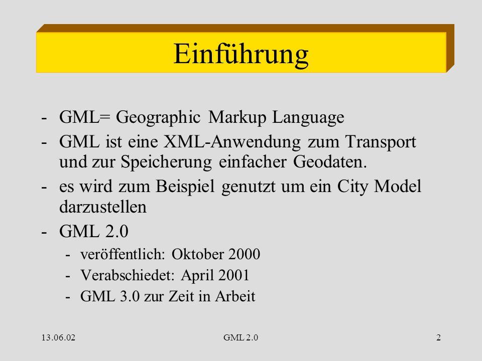 13.06.02GML 2.02 Einführung -GML= Geographic Markup Language -GML ist eine XML-Anwendung zum Transport und zur Speicherung einfacher Geodaten.