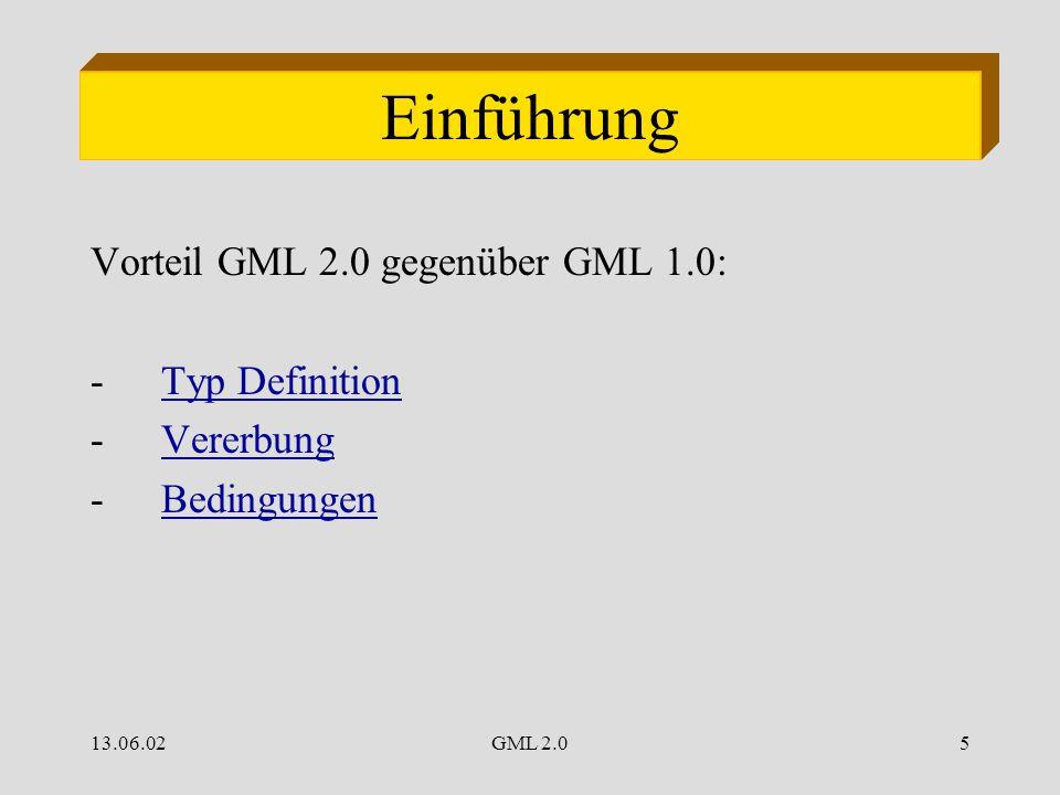 13.06.02GML 2.05 Einführung Vorteil GML 2.0 gegenüber GML 1.0: -Typ DefinitionTyp Definition -VererbungVererbung -BedingungenBedingungen