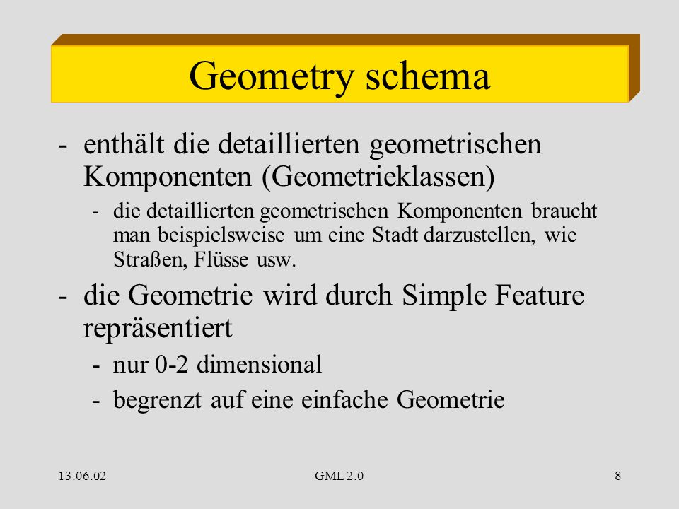 13.06.02GML 2.08 Geometry schema -enthält die detaillierten geometrischen Komponenten (Geometrieklassen) -die detaillierten geometrischen Komponenten braucht man beispielsweise um eine Stadt darzustellen, wie Straßen, Flüsse usw.