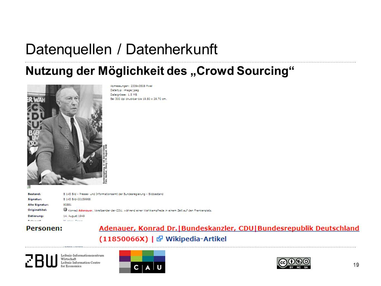 """19 Datenquellen / Datenherkunft Nutzung der Möglichkeit des """"Crowd Sourcing"""