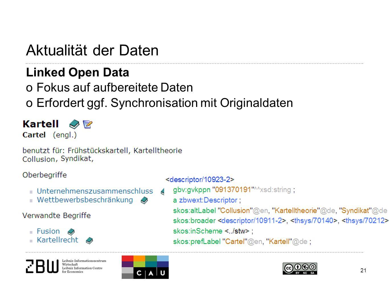 21 Aktualität der Daten Linked Open Data oFokus auf aufbereitete Daten oErfordert ggf.
