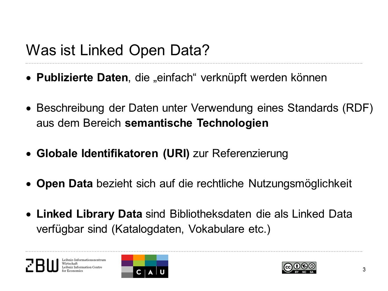 """3 Was ist Linked Open Data?  Publizierte Daten, die """"einfach"""" verknüpft werden können  Beschreibung der Daten unter Verwendung eines Standards (RDF)"""