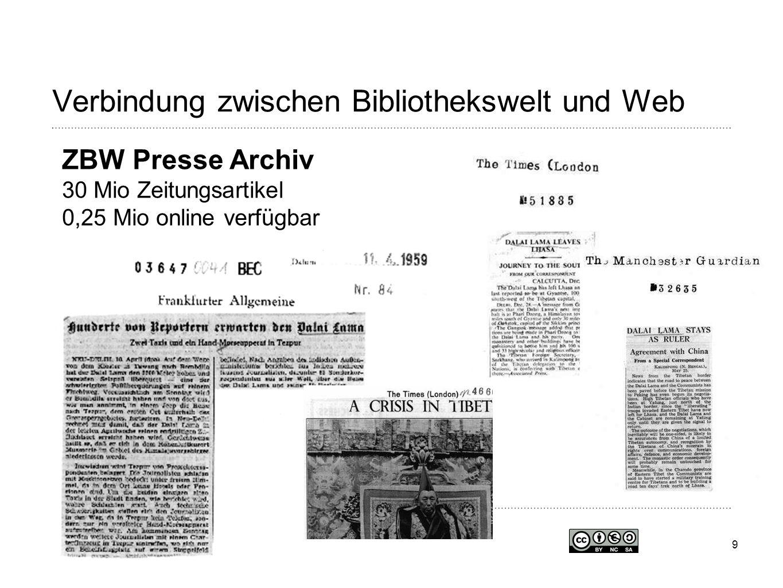 9 Verbindung zwischen Bibliothekswelt und Web ZBW Presse Archiv 30 Mio Zeitungsartikel 0,25 Mio online verfügbar