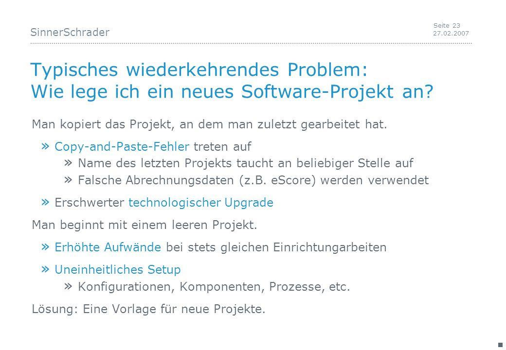 SinnerSchrader 27.02.2007 Seite 23 Typisches wiederkehrendes Problem: Wie lege ich ein neues Software-Projekt an.