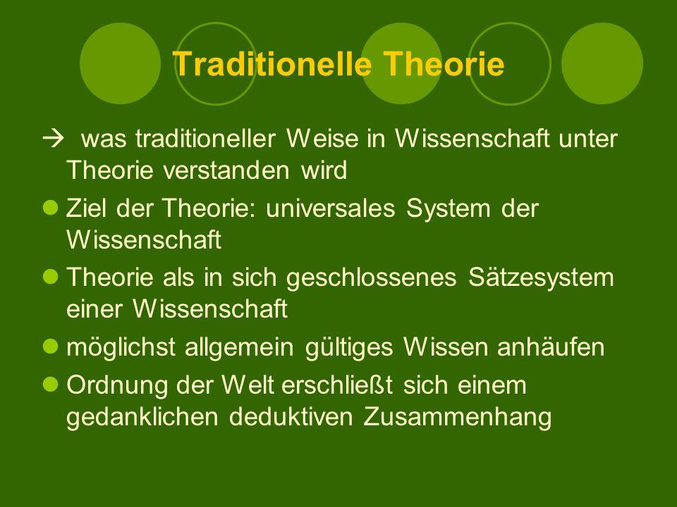 Traditionelle Theorie  was traditioneller Weise in Wissenschaft unter Theorie verstanden wird Ziel der Theorie: universales System der Wissenschaft Theorie als in sich geschlossenes Sätzesystem einer Wissenschaft möglichst allgemein gültiges Wissen anhäufen Ordnung der Welt erschließt sich einem gedanklichen deduktiven Zusammenhang